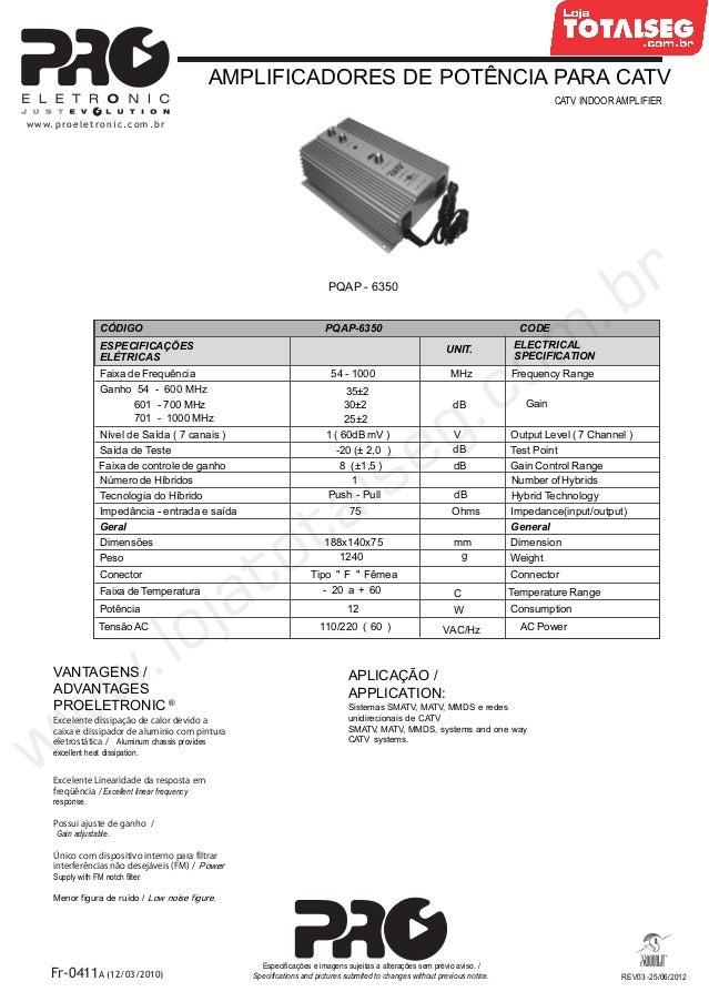 Especificação Técnica do Amplificador de Potência 35 dB 1V