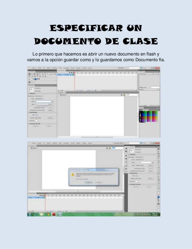 ESPECIFICAR UNDOCUMENTO DE CLASELo primero que hacemos es abrir un nuevo documento en flash yvamos a la opción guardar com...