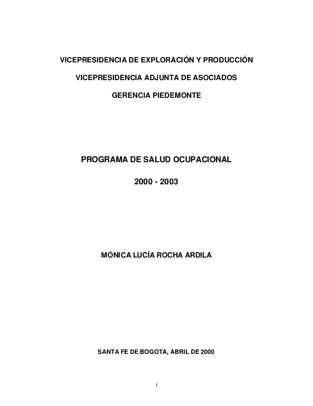 VICEPRESIDENCIA DE EXPLORACIÓN Y PRODUCCIÓN   VICEPRESIDENCIA ADJUNTA DE ASOCIADOS           GERENCIA PIEDEMONTE    PROGRA...