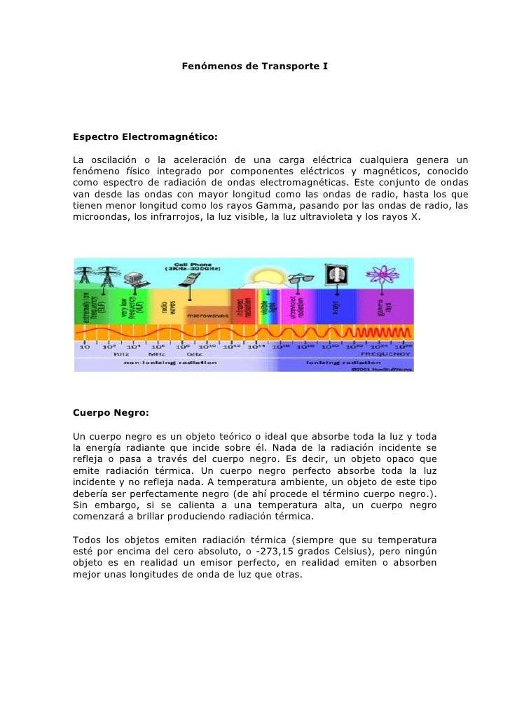 Fenómenos de Transporte I<br />Espectro Electromagnético: <br />La oscilación o la aceleración de una carga eléctrica cual...