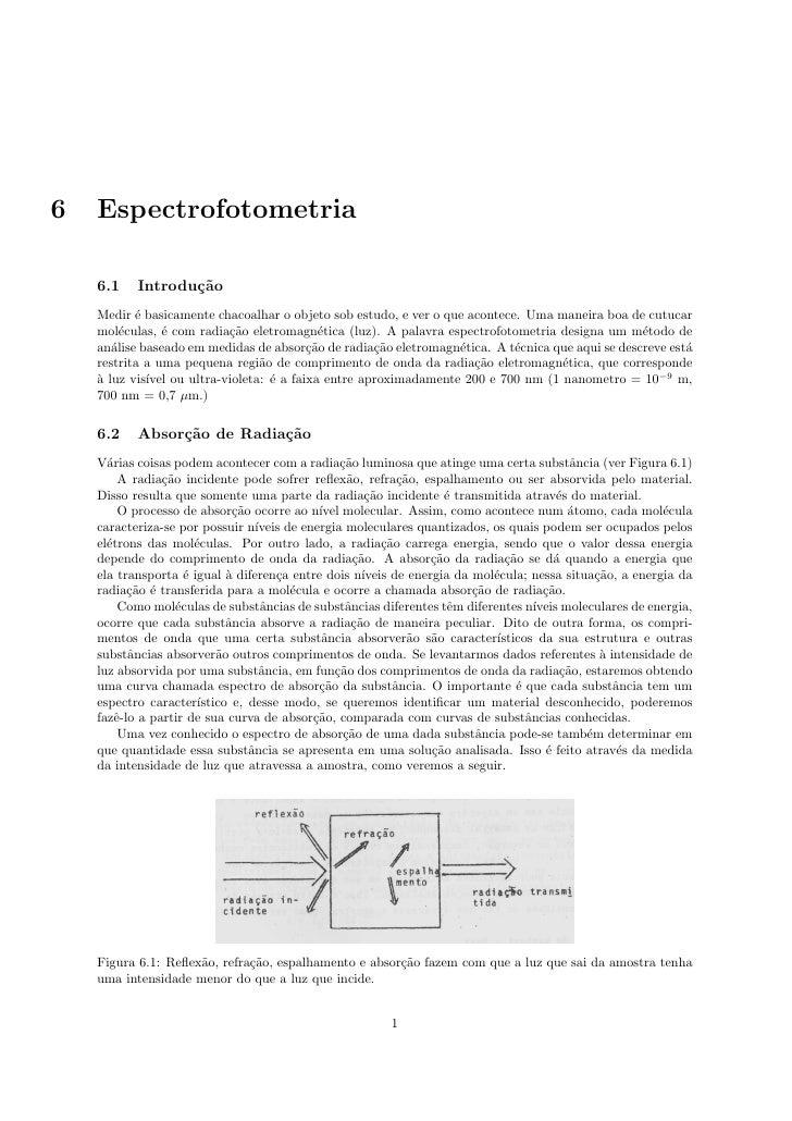 6   Espectrofotometria    6.1    Introdu¸˜o                  ca    Medir ´ basicamente chacoalhar o objeto sob estudo, e v...