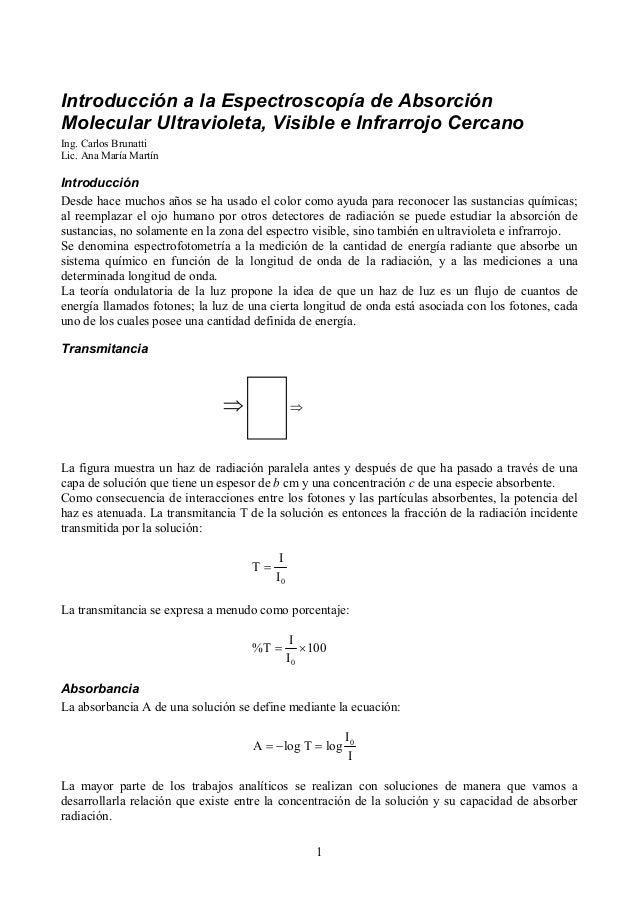 Introducción a la Espectroscopía de Absorción Molecular Ultravioleta, Visible e Infrarrojo Cercano Ing. Carlos Brunatti Li...