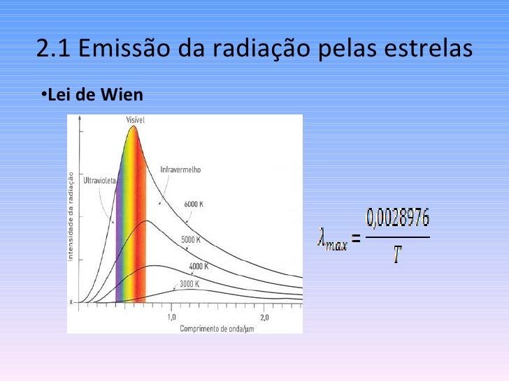 2.1 Emissão da radiação pelas estrelas <ul><li>Lei de Wien </li></ul>