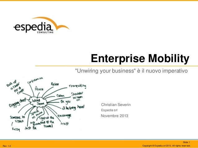 "Enterprise Mobility ""Unwiring your business"" è il nuovo imperativo  Christian Severin Espedia srl  Novembre 2013  Slide 1 ..."