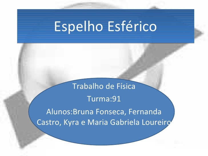 Espelho Esférico Trabalho de Física Turma:91 Alunos:Bruna Fonseca, Fernanda Castro, Kyra e Maria Gabriela Loureiro