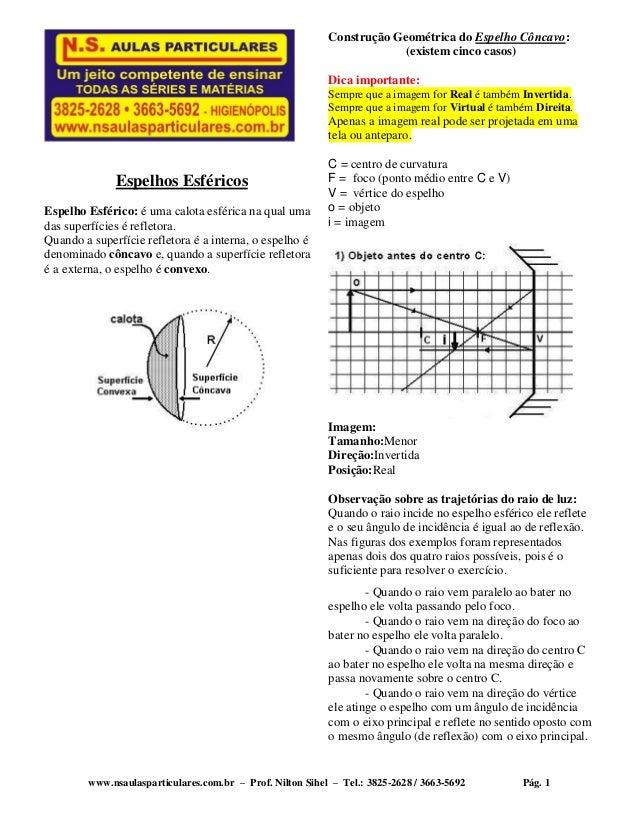 www.nsaulasparticulares.com.br – Prof. Nilton Sihel – Tel.: 3825-2628 / 3663-5692 Pág. 1 Espelhos Esféricos Espelho Esféri...