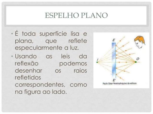 ESPELHO PLANO • É toda superfície lisa e plana, que reflete especularmente a luz. • Usando as leis da reflexão podemos des...