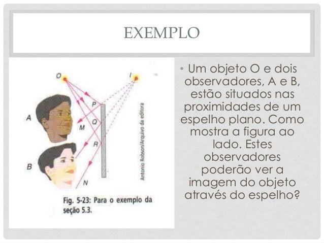 EXEMPLO • Um objeto O e dois observadores, A e B, estão situados nas proximidades de um espelho plano. Como mostra a figur...