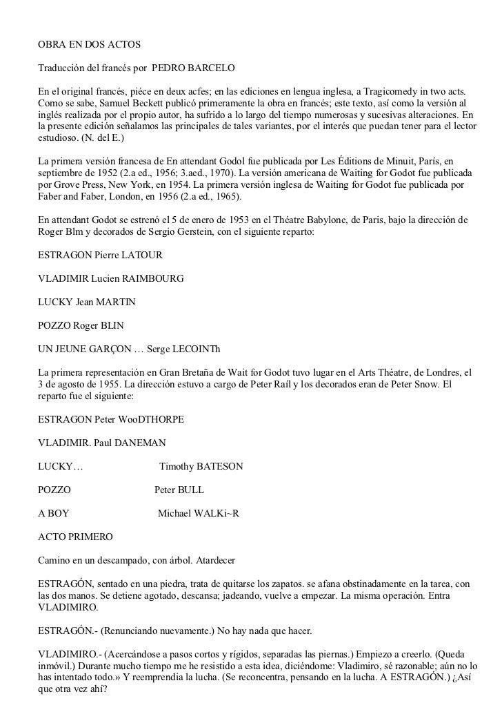 OBRA EN DOS ACTOSTraducción del francés por PEDRO BARCELOEn el original francés, piéce en deux acfes; en las ediciones en ...
