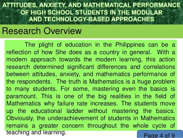 academic performance in mathematics in the philippines Mathematics coordinator guindulungan district philippines address: rm 124 role in students' learning and academic achievement (panda and mohanty, 2003) basic education schools which will promote work performance and job satisfaction of teachers and professional.
