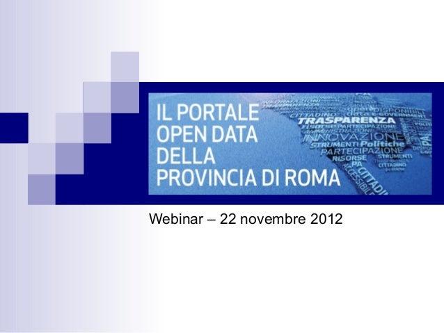 Webinar – 22 novembre 2012