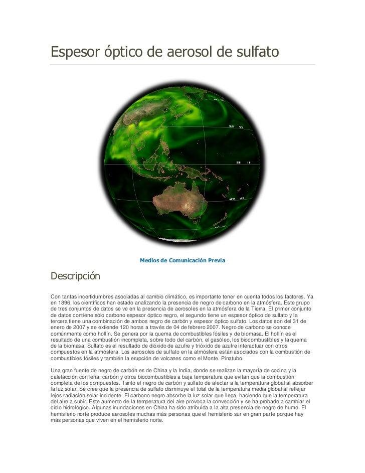 Espesor óptico de aerosol de sulfato                                     Medios de Comunicación PreviaDescripciónCon tanta...