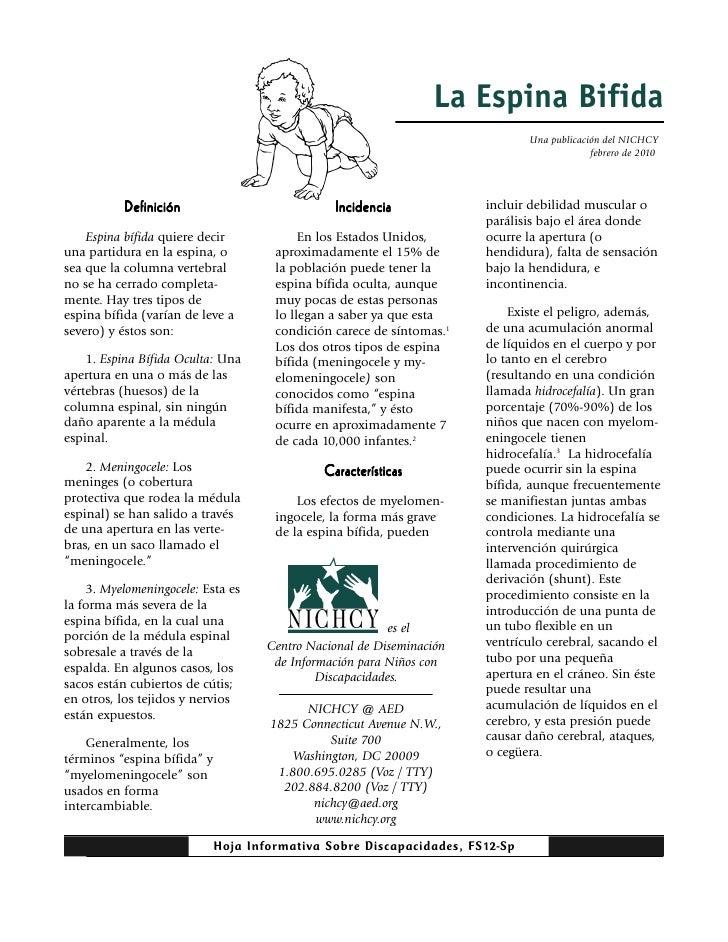 La Espina Bifida                                                                              Una publicación del NICHCY  ...