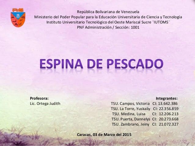 República Bolivariana de Venezuela Ministerio del Poder Popular para la Educación Universitaria de Ciencia y Tecnología In...