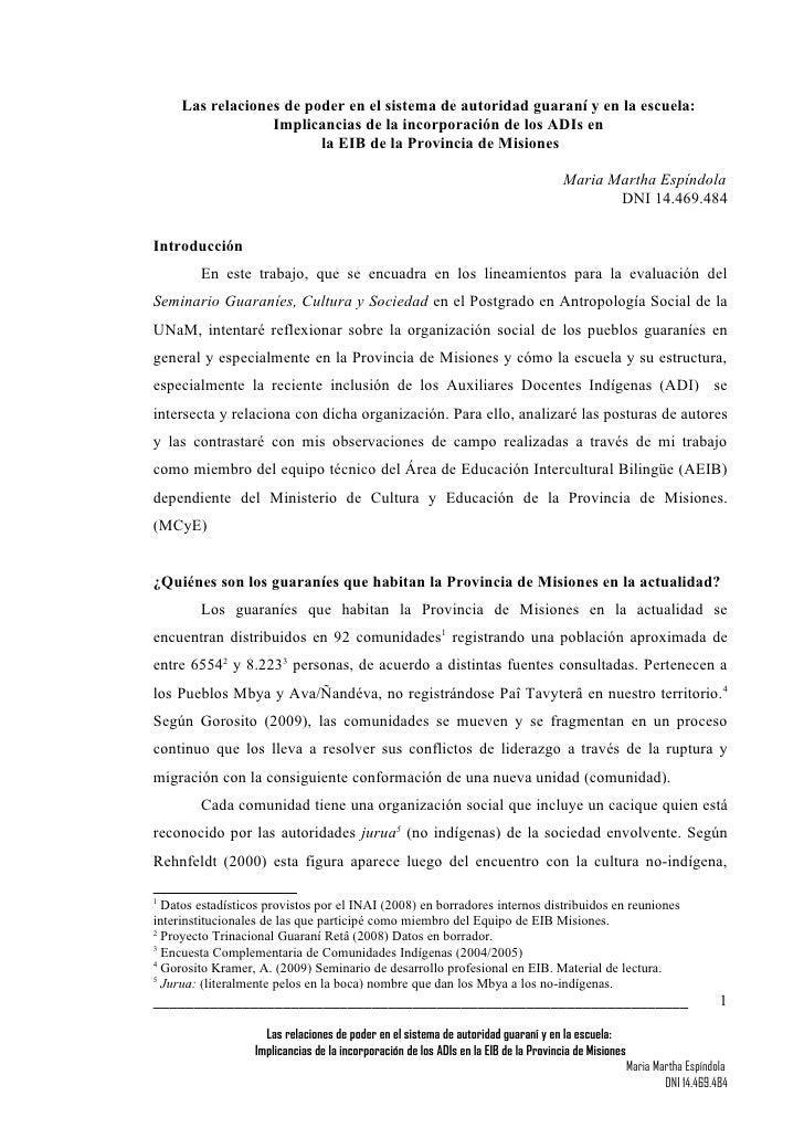 Las relaciones de poder en el sistema de autoridad guaraní y en la escuela:                   Implicancias de la incorpora...
