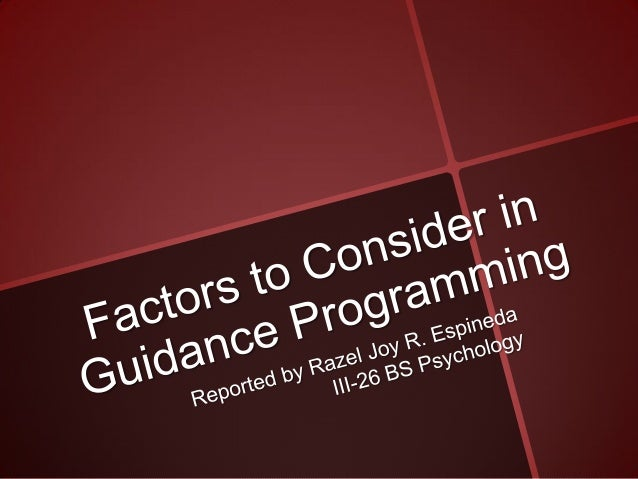 Espineda   factors to consider in guidance programming
