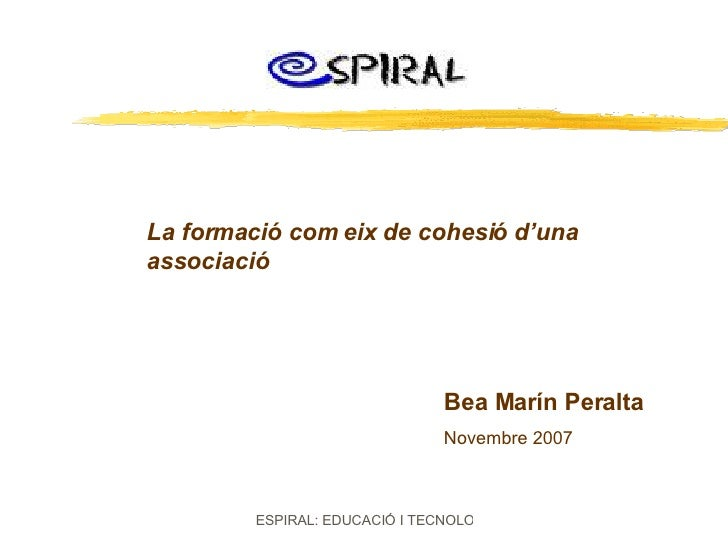 La formació com eix de cohesió d'una associació Bea Marín Peralta Novembre 2007