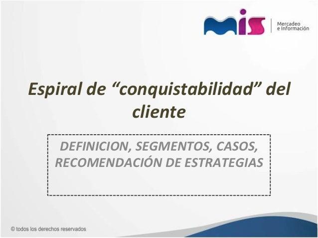 """Espiral de """"conquistabilidad"""" del                     cliente      DEFINICION, SEGMENTOS, CASOS,     RECOM..."""