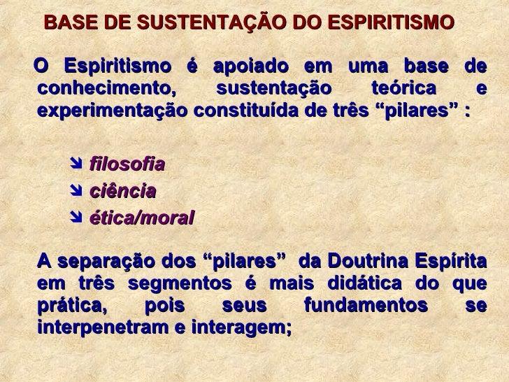 <ul><ul><li>BASE DE SUSTENTAÇÃO DO ESPIRITISMO </li></ul></ul><ul><li>O Espiritismo é apoiado em uma base de conhecimento,...