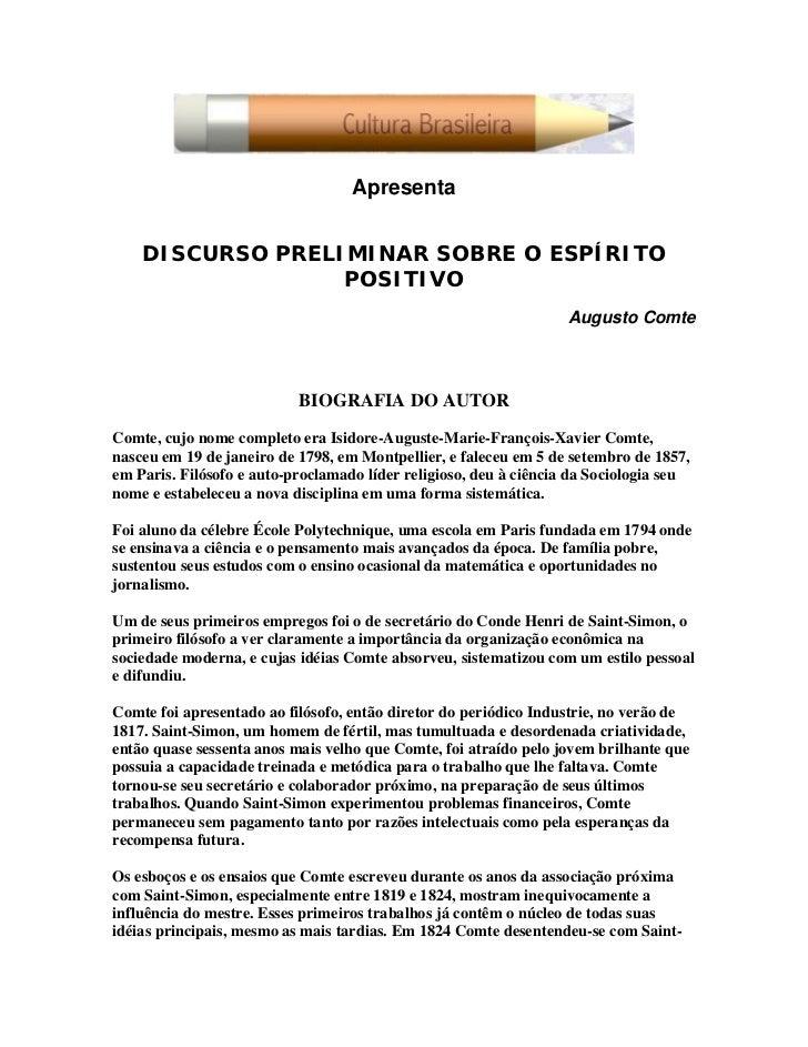 Apresenta       DISCURSO PRELIMINAR SOBRE O ESPÍRITO                   POSITIVO                                           ...