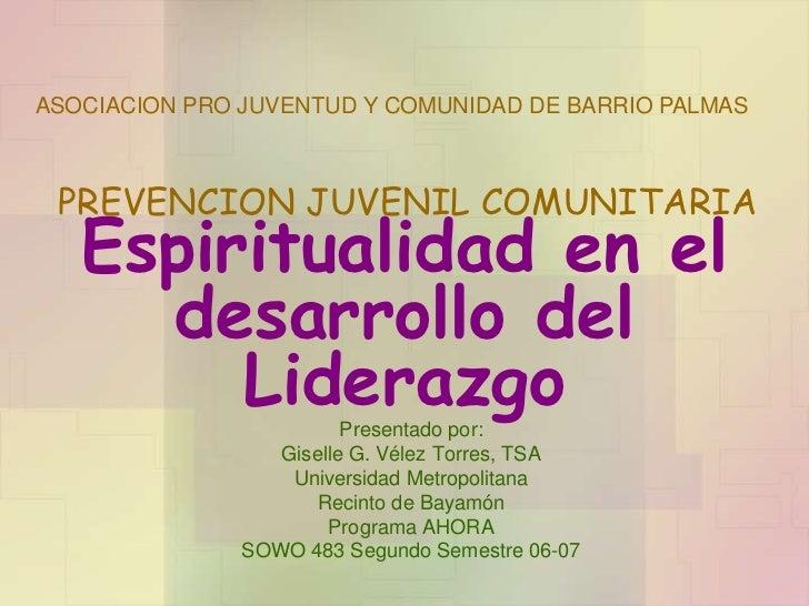 ASOCIACION PRO JUVENTUD Y COMUNIDAD DE BARRIO PALMAS PREVENCION JUVENIL COMUNITARIA   Espiritualidad en el     desarrollo ...