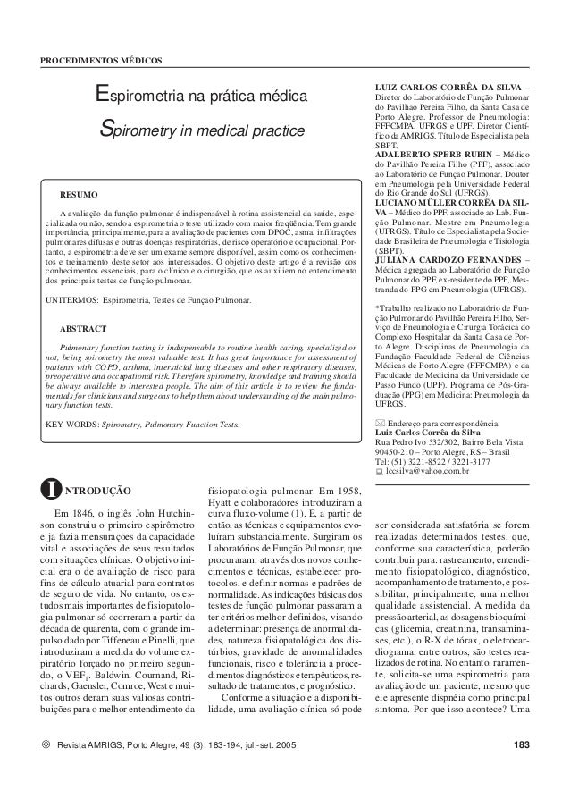 ESPIROMETRIA NA PRÁTICA... Silva et al. PROCEDIMENTOS MÉDICOS Revista AMRIGS, Porto Alegre, 49 (3): 183-194, jul.-set. 200...