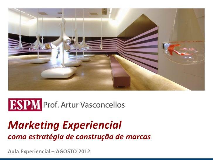 MARKETING EXPERIENCIAL E SENSORIAL Marketing Experiencial como estratégia de construção de marcas Aula Experiencial – AGOS...