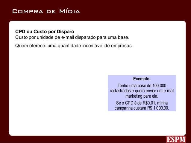 CPL ou Custo por Lead Compra baseada na conversão da campanha. Quem oferece: programas de parceria e afiliados (Uol, Submar...