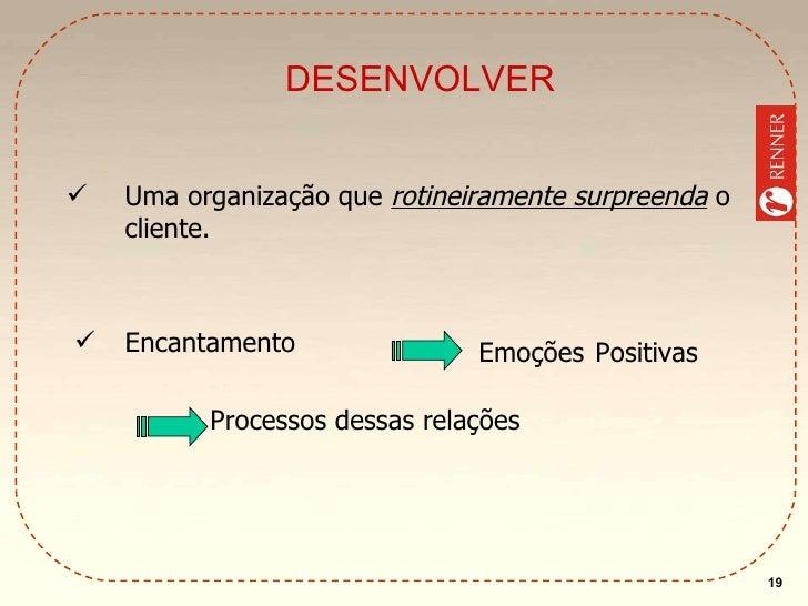 DESENVOLVER <ul><li>Uma organização que  rotineiramente surpreenda   o cliente. </li></ul><ul><li>Encantamento </li></ul>E...