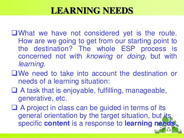definition of need analysis in esp