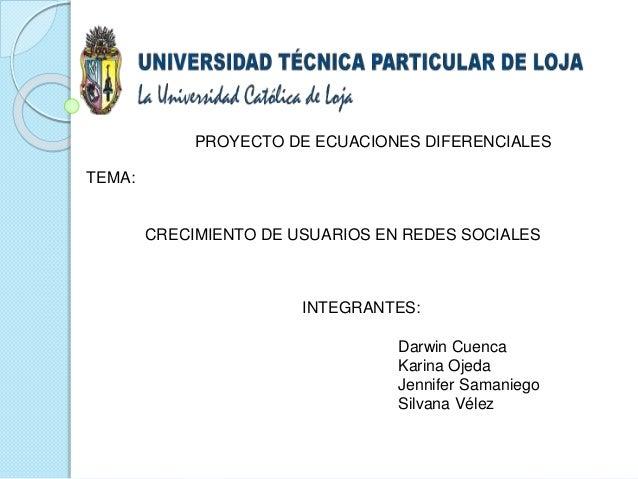 INTEGRANTES: Darwin Cuenca Karina Ojeda Jennifer Samaniego Silvana Vélez TEMA: CRECIMIENTO DE USUARIOS EN REDES SOCIALES P...