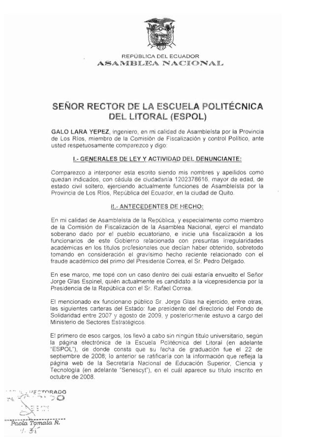 REPUBLICA DEL ECUADOR                 ASA~BLEA Ni~.C                          NALSENOR RECTOR DE LA ESCUElA POlITECNICA   ...