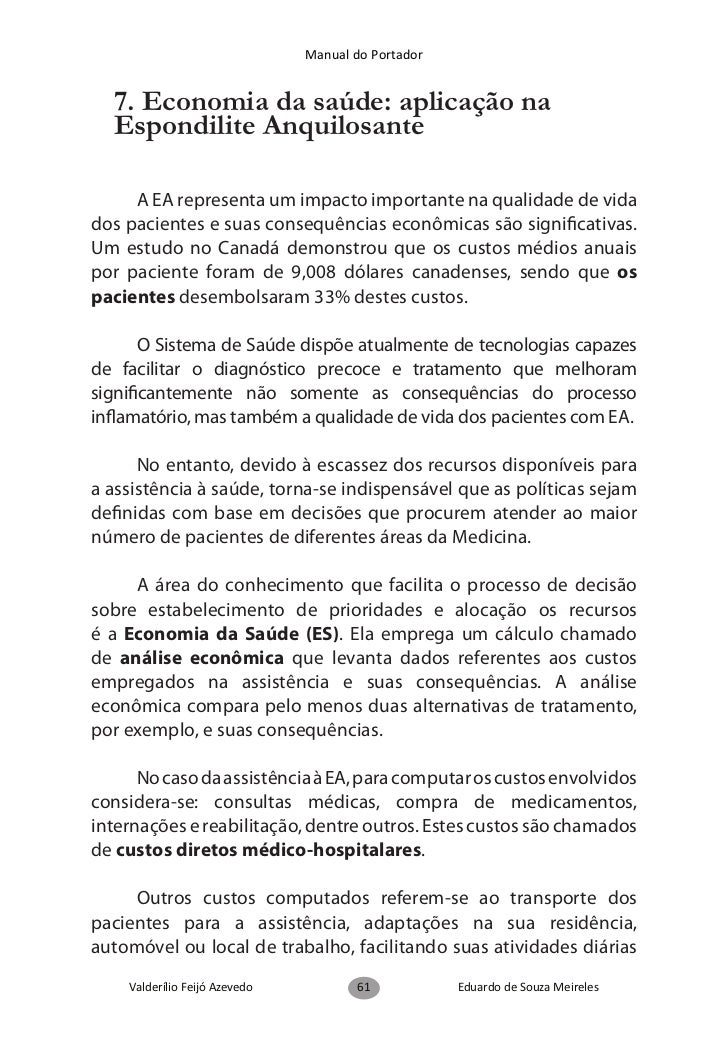 Manual do Portador  8. Os direitos dos portadores de  Espondilite Anquilosante                                            ...