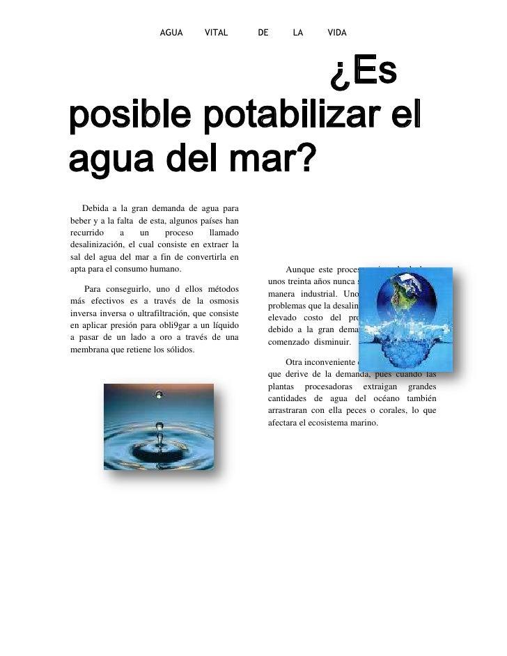 Es posible potabilizar el agua del mar for Como criar peces para consumo humano