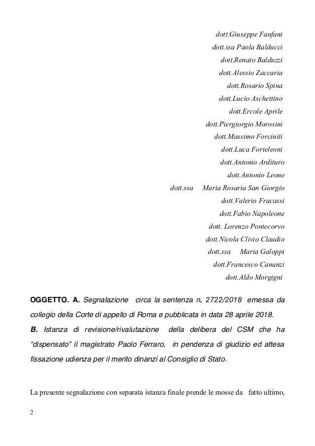 dott.Giuseppe Fanfani dott.ssa Paola Balducci dott.Renato Balduzzi dott.Alessio Zaccaria dott.Rosario Spina dott.Lucio Asc...