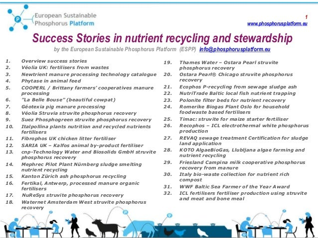 1 www.phosphorusplatform.eu Success Stories in nutrient recycling and stewardship by the European Sustainable Phosphorus P...