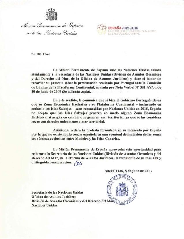 Nota Verbal da Missão Permanente de Espanha junto das Nações Unidas