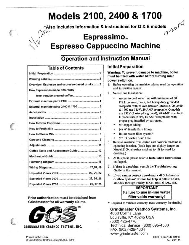 Models 2100,  *Also includes information & instructions for Q & E models  *QI ~ É?  N,   Espressimon.  Espresso Cappuccino...