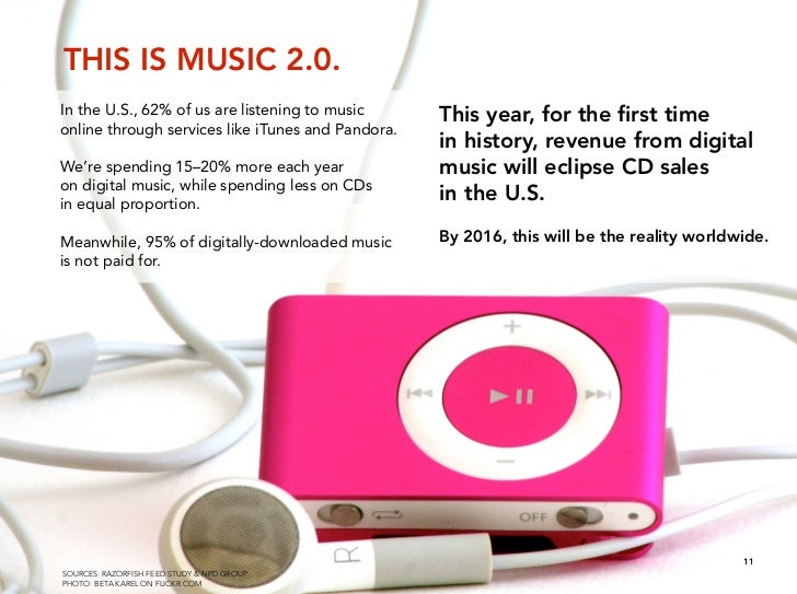 THIS IS MUSIC 2.0. In the U.S., 62% of us are listening to music      This year, for the first time online through services...
