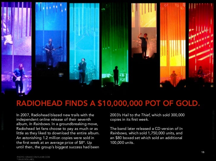 RADIOHEAD FINDS A $10,000,000 POT OF GOLD. In 2007, Radiohead blazed new trails with the        2003's Hail to the Thief, ...