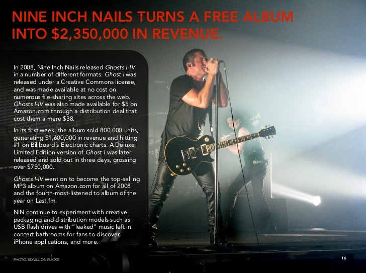 NINE INCH NAILS TURNS A FREE ALBUM INTO $2,350,000 IN REVENUE.  In 2008, Nine Inch Nails released Ghosts I-IV in a number ...