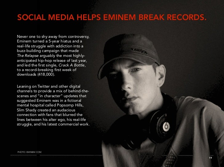 SOCIAL MEDIA HELPS EMINEM BREAK RECORDS.  Never one to shy away from controversy, Eminem turned a 5-year hiatus and a real...
