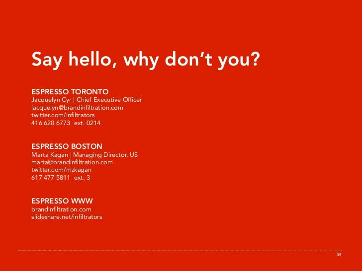 Say hello, why don't you? ESPRESSO TORONTO Jacquelyn Cyr | Chief Executive Officer jacquelyn@brandinfiltration.com twitter.c...