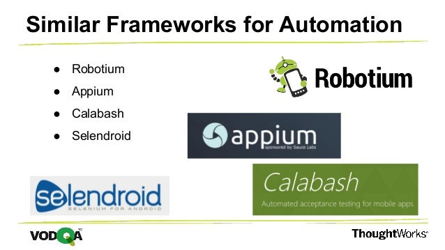 ● Robotium ● Appium ● Calabash ● Selendroid Similar Frameworks for Automation