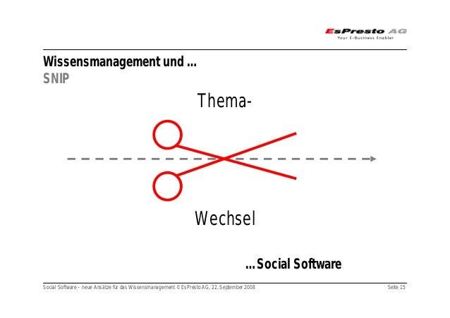 Social Software – neue Ansätze für das Wissensmanagement © EsPresto AG, 22. September 2008 Seite 15 Wissensmanagement und ...