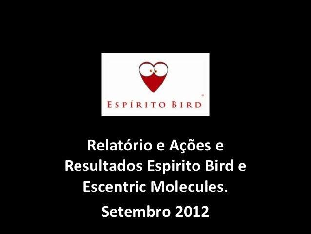 Relatório e Ações eResultados Espirito Bird e  Escentric Molecules.     Setembro 2012