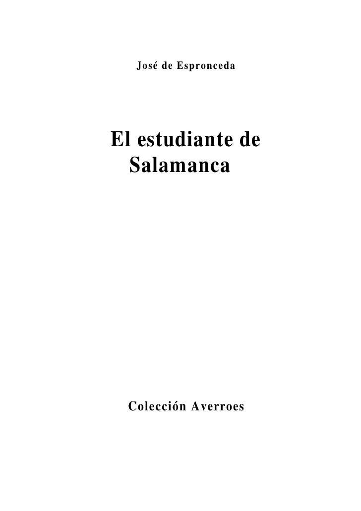 José de Espronceda     El estudiante de   Salamanca      Colección Averroes