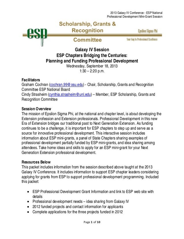 2013 Galaxy IV Conference - ESP National Professional Development Mini-Grant Session Page1of10  Galaxy IV Session ES...