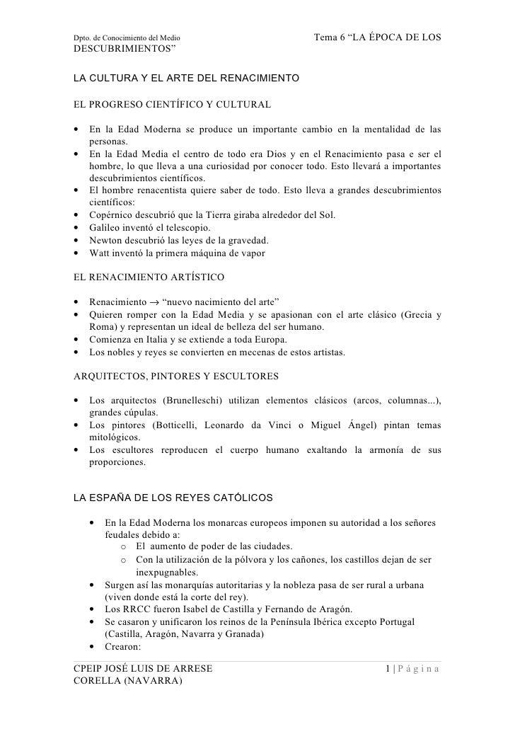 """Dpto. de Conocimiento del Medio                            Tema 6 """"LA ÉPOCA DE LOS DESCUBRIMIENTOS""""  LA CULTURA Y EL ARTE ..."""