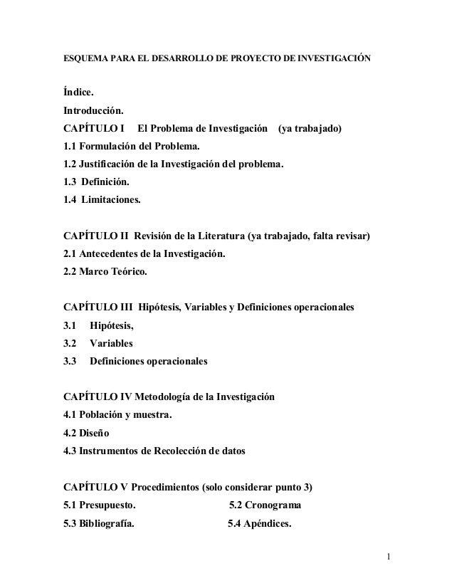 ESQUEMA PARA EL DESARROLLO DE PROYECTO DE INVESTIGACIÓN Índice. Introducción. CAPÍTULO I El Problema de Investigación (ya ...